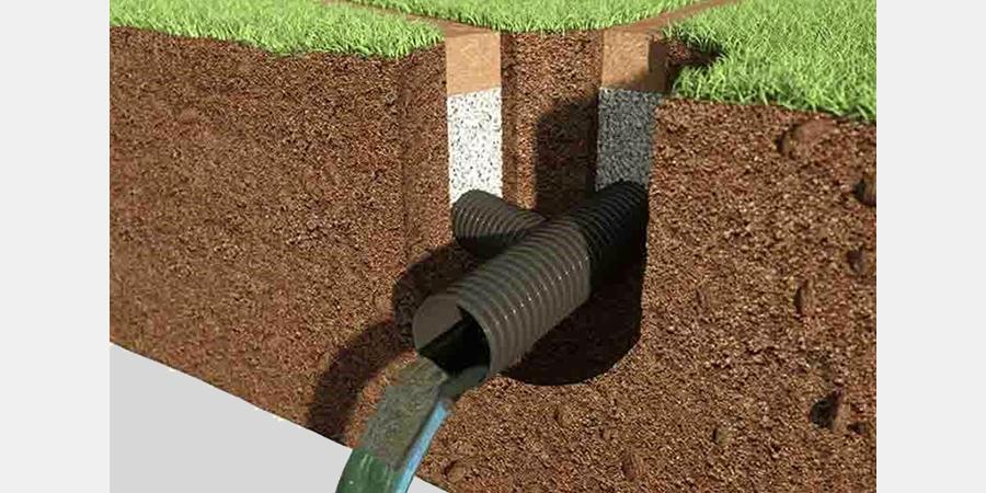 Пример устройства дренажа при укладке искусственной травы